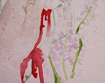 Caught in the brambles watercolour