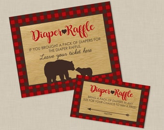 Plaid Mama Bear Baby Shower Diaper Raffle Ticket And Diaper Raffle Sign - INSTANT DOWNLOAD - Flannel Woodsy Northwoods Lumberjack Inspired