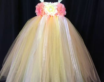 Peach & yellow tulle princess dress, empire waist dress, tulle tutu dress, princess dress, birthday dress, gift for her, dress up