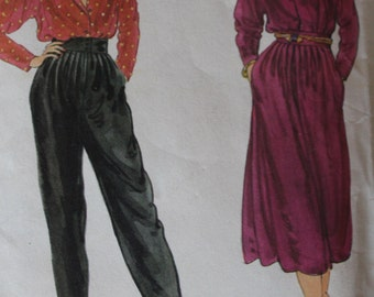 Vintage Vogue 1970s Sewing Pattern 7409 Misses' Blouse, Skirt and Pants Size 10