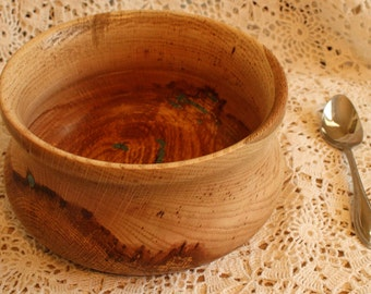 Item #23:  Hand Turned Red Oak Bowl with Turquoise Inlay