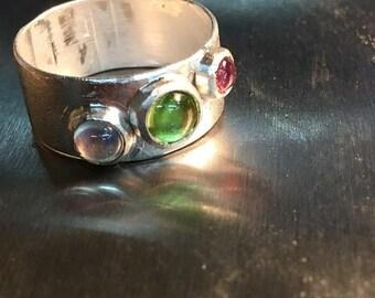 Multistone Bezel Set Sterling Silver Mother's Ring