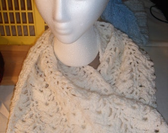 Winter white crocheted scarf