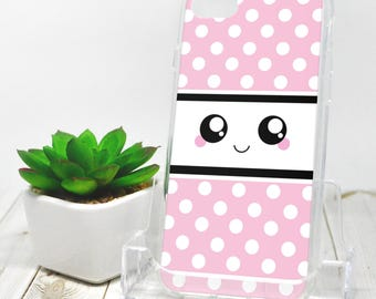 Kawaii Smile iPhone 7 Case - Pink and White Polka Dot - iPhone 7 Plus Case