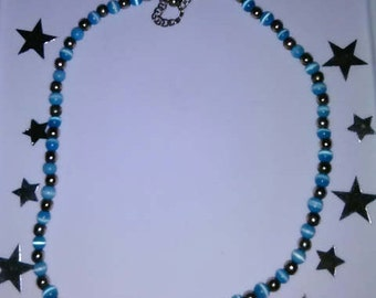 Blue Beaded Marble Necklace