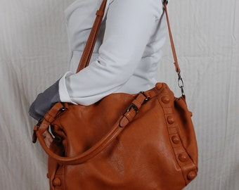 brown pu leather women large purse bag shoulder bag everyday handbag hobo