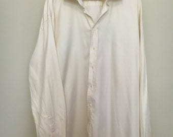 NICHOLBY & HARVARD Cream XXL button up shirt 100% cotton oversized slouchy mens casual style