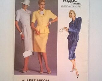 "Albert Nipon  Designer Pattern - Vogue Patterns American Designer 1862 - Dress, Top with Peplum, Skirt -- Size 12 - Bust 34"" - Uncut"