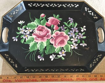 Vintage Black Tray with Painted Tole Flowers and Cut edge details
