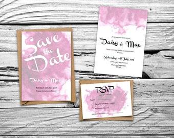 Pink Watercolour Printable Wedding Invitation Set