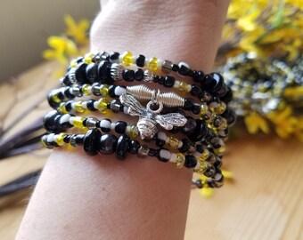 Bee Charm Beaded Bracelet