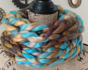 Super Chunky Teal and Brown Cowl/Infinity Scarf/Cowl/Arm Knit Cowl/Chunky Scarf