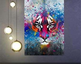 Tiger Panther imagination fantasy poster print Wall Art in 4 sizes