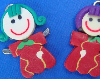 2 Charms fimo mother daughter matching dress green and purple hair happy face LAST PAIR in red dress jewelry supply pendant handmade cc019