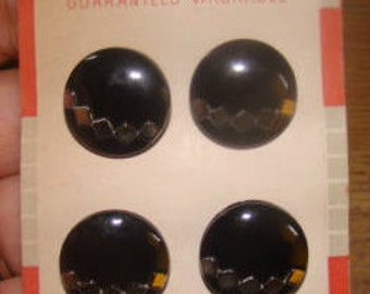 4 Vintage Black Glass Buttons On Original Card