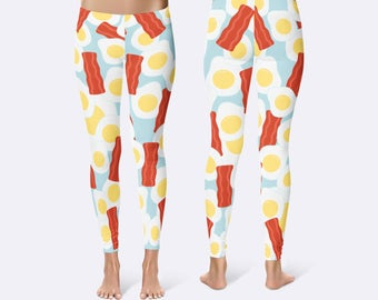 Bacon and Eggs Leggings, Best Friends Leggings, Ladies Leggings, Food Leggings, Print Leggings, Yoga Pants, Womens Leggings, Funny Leggings