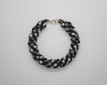 Black and grey Swarovski pearl and crystal bracelet