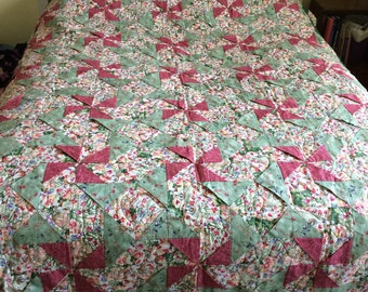 Homemade Quilt, Pinwheel Quilt, Wall Quilt, Sofa Quilt, Lap Quilt, Rose and Green Quilt