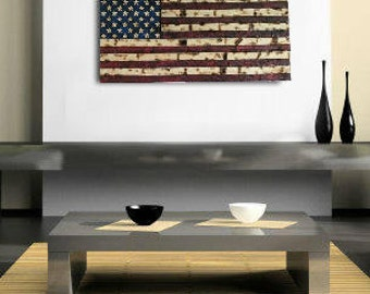 Hand-Carved Rustic red/blue American Wooden Flag Charred/Burnt FREE SHIPPING!!!