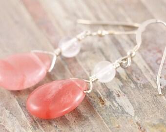 Teardrop strawberry quartz sterling silver dangle earrings - Cherry quartz