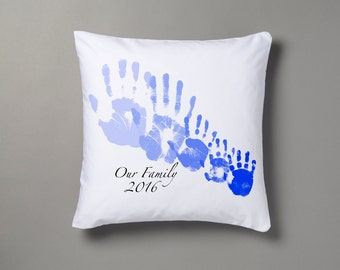 Handprint our family cushion
