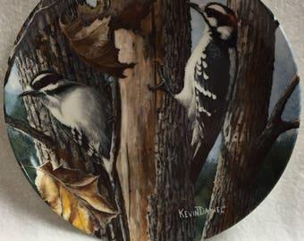 Knowles Encyclopedia Britannica Birds of Your Garden Collector Plate - Downy Woodpecker (#043)
