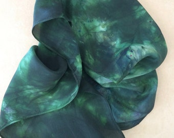 Silk scarf Hand dyed with green dye.