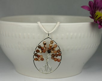 Fire Agate Tree of Life Pendant with Sterling Silver