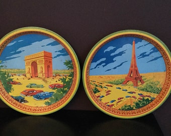 Vintage Eiffel Tower and Arc de Triomphe decor metal serving trays