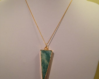 Bespoke Gold Electroplated Amazonite Triangle Pendant with Gold Plated Sterling Silver Chain