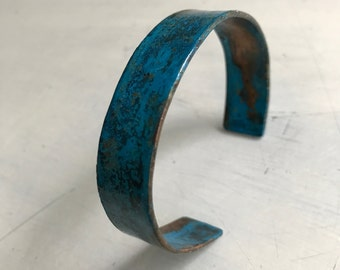 "Handmade Patinated 1/2"" Copper Bracelet, One Size Fits Most"