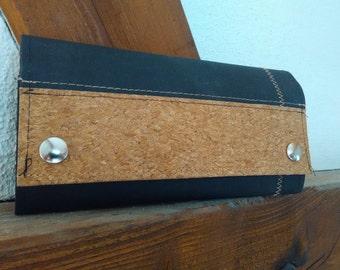 Wallet purse: tarpaulin, vegan leather, Cork