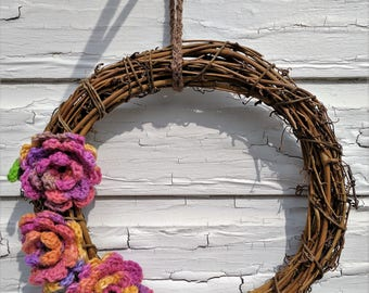 12 inch Grapevine Wreath with Crochet Flowers