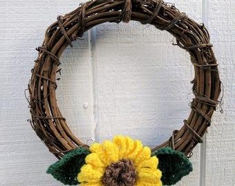 12 inch grapevine wreath with crochet sunflower