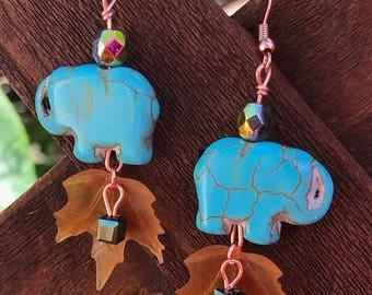 Turquoise Elephant Dangle Earrings    Leaf Earrings    Boho Earrings