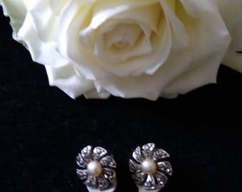 Vintage Clip On Marcasite & Faux Pearl Flower Earrings