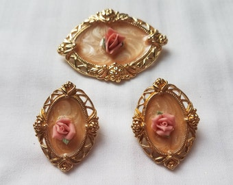Avon 1989 'Victoria Rose' Bisque Brooch and Earring Demi Parure