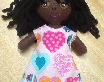 "8"" Felt/Fabric Doll,, Dark Brown, Hearts Dress"