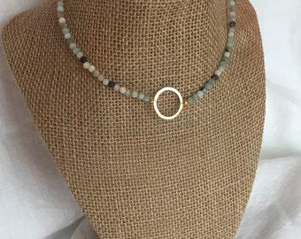 Amazonite Gold Circle Choker