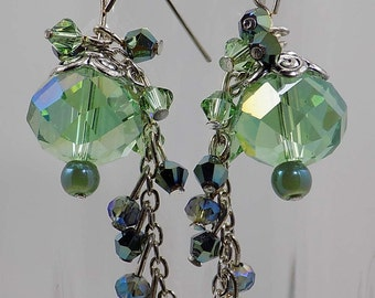 Swarovski crystal beads light green and metalic green long tail dangles