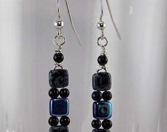Czech glass beads, blue and black, metallic blue, silver.