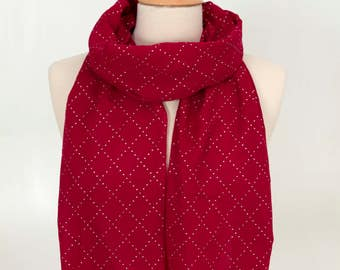 Red Scarf with Silver Dots, Dot Scarf, Women Scarf, Fashion Scarf, Red Scarf, Mom Scarf, for her, Gift Scarf, Elegant Scarf, Girl Scarf