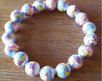 Blue Floral Porcelain Bracelet