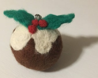 Felted Christmas Pudding Bauble