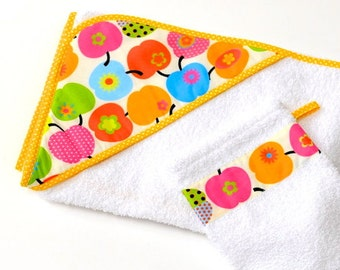 Baby towel, retro Apple colorful