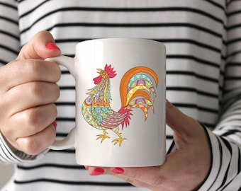 tribal rooster coffee mug,rooster coffee cup,rooster mug,rooster cup,tribal coffee mug,tribal coffee cup,womens coffee cup,womens funny mug
