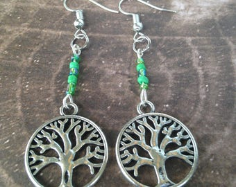 Tree of Life Earrings with Green Beads - Makes a Great Gift!