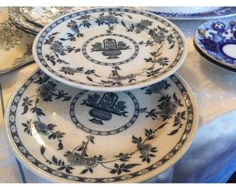 1890s Minton Delft Dinner Plates. Antiqie Blue and White Delft Plates.