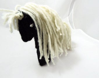 Crochet  Black and White Horse Plushie