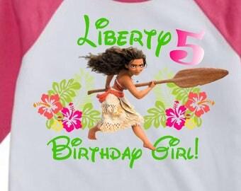 Personalized Moana Birthday Girl Shirt Printable, Moana Iron 0n